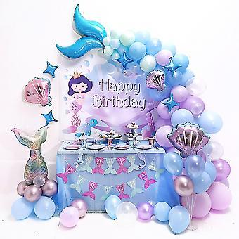 Fête d'anniversaire sur le thème de la sirène Décoré Ballon en latex Ensemble atmosphère Ensemble Accessoires