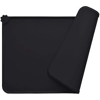 Hundskålmatta, Fda Standard Silikon kattmatmatta, vattentät och halkfri, svart, 47 x 30 cm