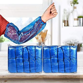 Wasserdichte Hülsen, 300 Stück Einweghülsen, Einweg-Schutzarmhülsen, Pe-Kunststoff-Hülsenabdeckungen mit elastischen Bündnetten für die Lackreinigung von Lebensmitteln