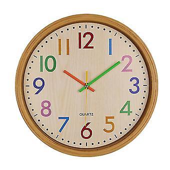 Venalisa 12 pouces ronds quartz horloges murales, bois grain salon décoration numéro horloge