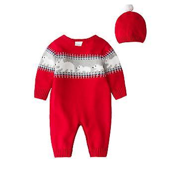 Crăciun Outfit Toddler Crăciun Salopeta cu maneca lunga Xmas Homewear cu Hat