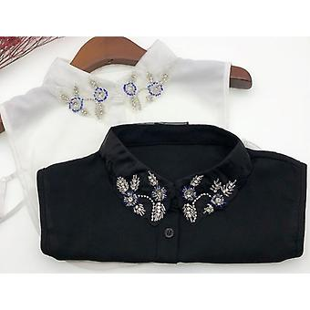 Women Polyester Beads Embroidery Shirt Collar
