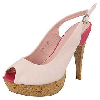 Ladies Barricci Peep Toe Sling Back Court Shoes