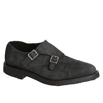 Andrea Ventura men's double monks black suede leather