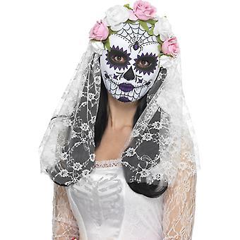 Dzień panny młodej martwe oczy półmaska maska Halloween Meksyk z welonem