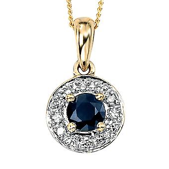 9 ct goud blauw saffier en Diamond Necklace
