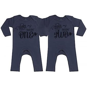 Spoilt Rotten Twin Number One & Two Navy Baby Footless Romper Twins Set