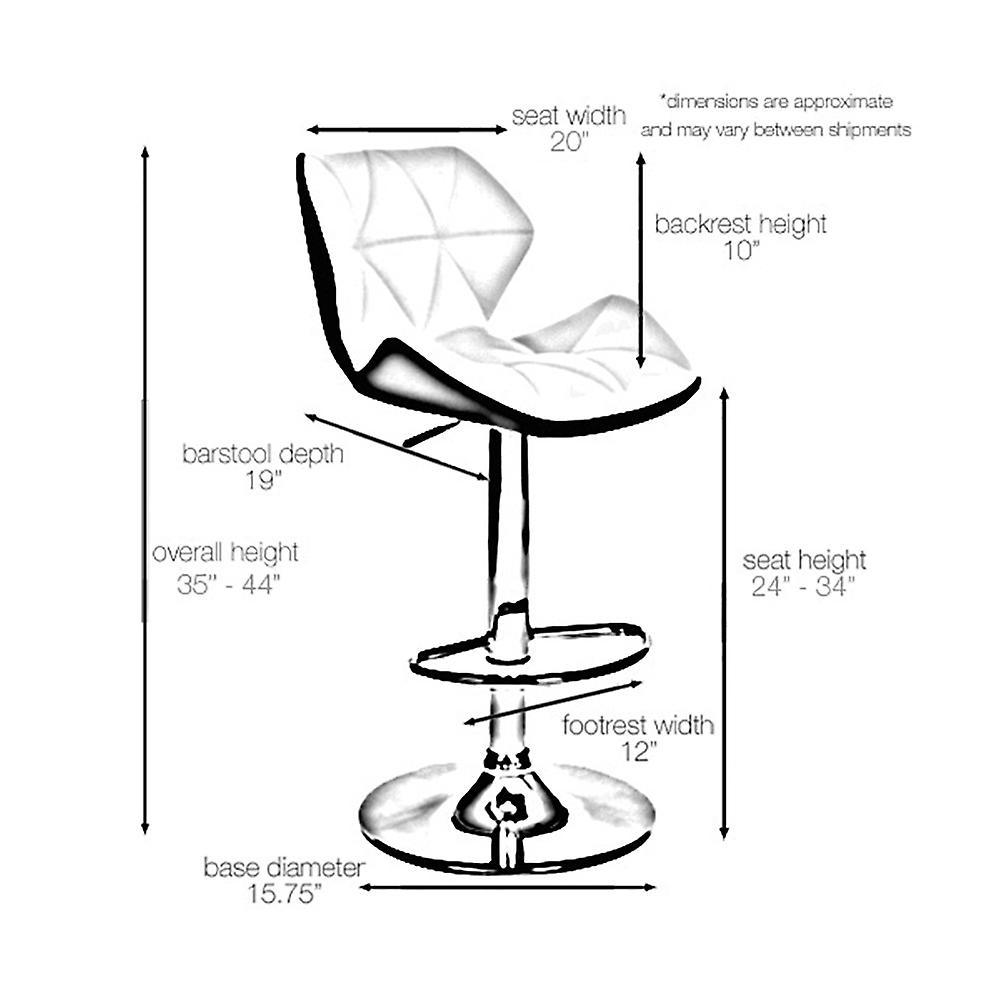 Ensemble de 2 Spyder Contemporary Adjustable Barstool - Modern Comfortable Adjusting Height Counter/Bar Stool (Blanc/Gray)