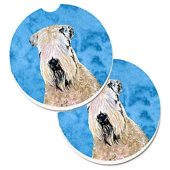Blue Soft Coated Wheaten Terrier Set of 2 Cup Holder Car Coasters