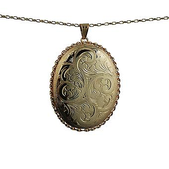 9ct Gold 48x38mm hand engraved twisted wire edge oval Locket with a belcher Chain 18 inches