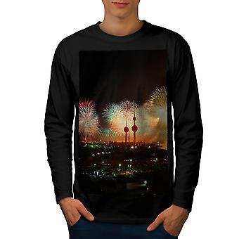 नए साल के आतिशबाजी पुरुषब्लैकलॉन्ग स्लीव टी शर्ट । वेलकोडा