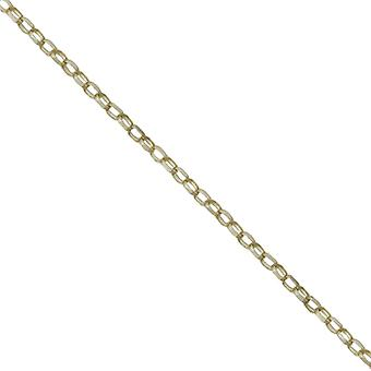 9ct Gold 1.4mm wide bright cut oval Belcher Pendant Chain 24 inches
