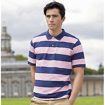 Front Row Mens Short Sleeve Slim Fit Striped Pique Casual Cotton Polo Shirt