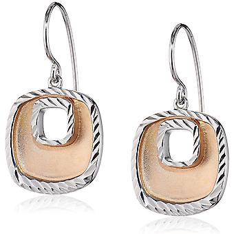 Orphelia Silver 925 Drop Earring Rechthoukig Bicolor satijn diamant geslepen ZO-5188