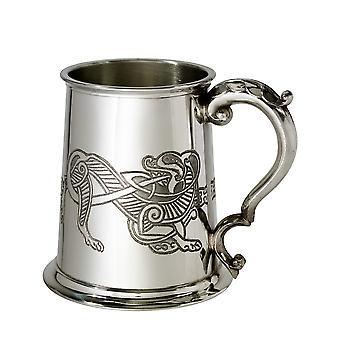 Keltische Lion reliëf Pewter Tankard - 1 pint