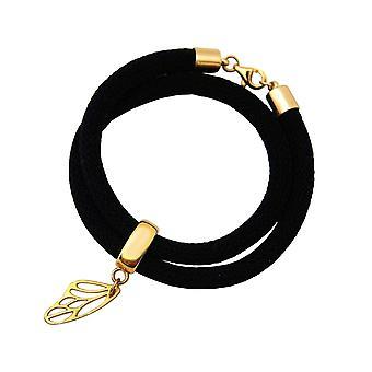 Gemshine armbånd wrap armbånd 925 sølv belagt sommerfugl sort