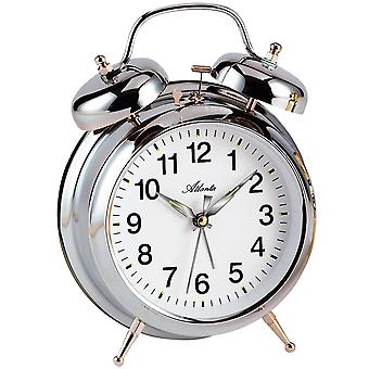 Atlanta 1060/19 mechanical alarm bell alarm clock twin Bell alarm clock silver