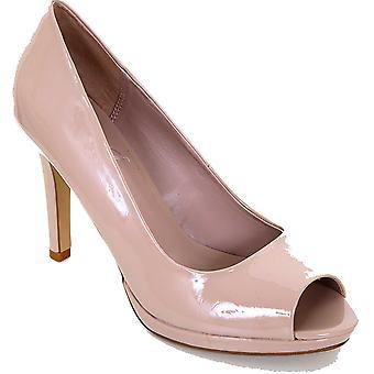 Damen Peep Toe Nude Schwarz Patent Frauen Casual Smart-Pumps Heels