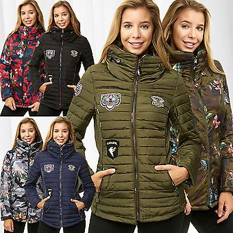Ladies Jacket Reversible Print Quilted Jacket Short Coat Patch Short Coat Parka