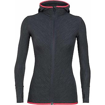 Icebreaker Women's Descender LS Zip Hood - Jet Heather/Prism