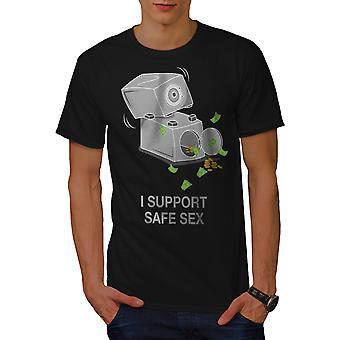 Support Safe Sex Funy Men BlackT-shirt | Wellcoda