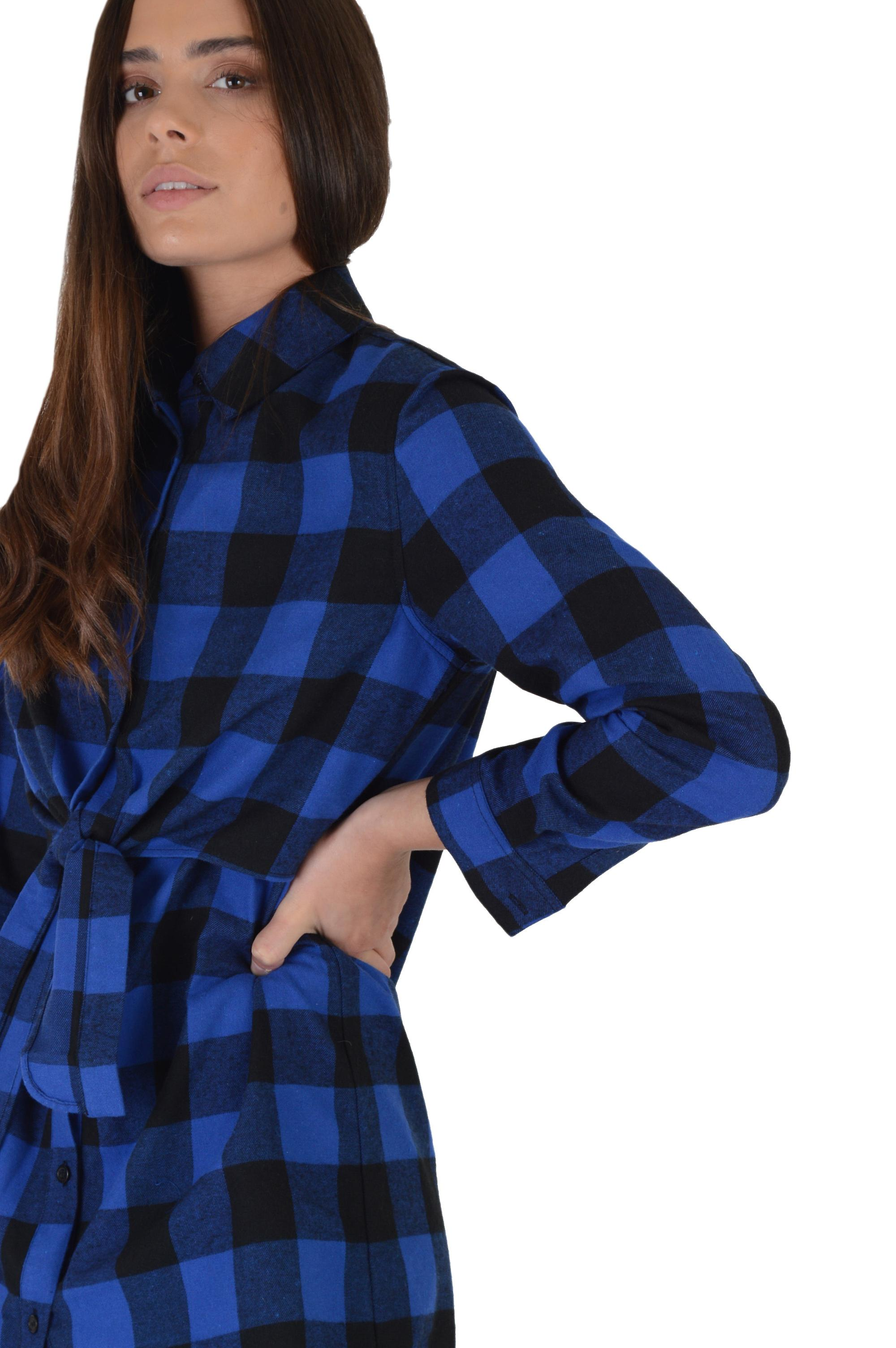 Lovemystyle Blue And Black Checked Shirt Dress With Tie Waist
