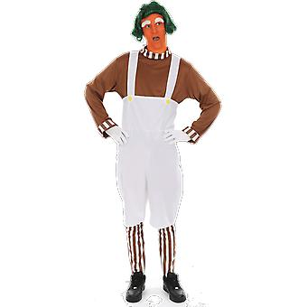 Mens Oompa Loompa Chocolate Factory Worker World Book Day Fancy Dress Costume