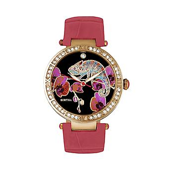 Bertha Camilla Mother-Of-Pearl lederen-Band Watch - Coral