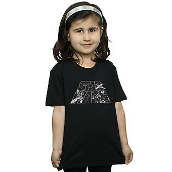 Star Wars Girls Logo Space Sketch T-Shirt