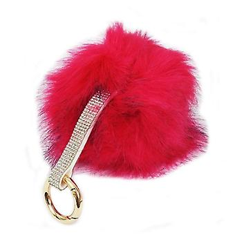 Ladies Bling Diamante Strap Pom Pom Key Ring 60699