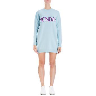 Alberta Ferretti 048566021306 Women's Light Blue Wool Dress