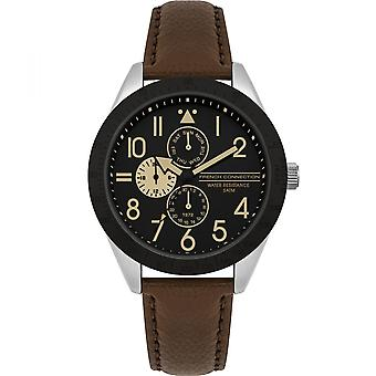 French Connection Mens Multi dial Quartz Watch with Leather Strap FC1313T