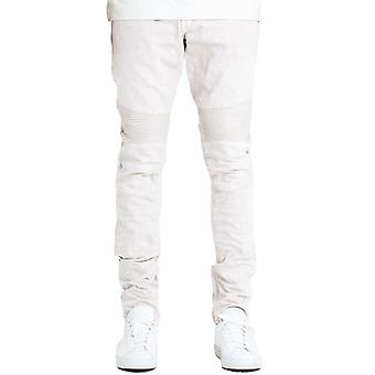 Embellish Fist Biker Denim Jeans Off White