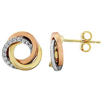 Mark Milton Cubic Zirconia Knot Earrings - Gold/Rose Gold/Silver