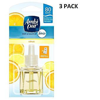 3 X 20Ml Ambi Pur Febreze Plug In Refill Air Freshener - Citrus