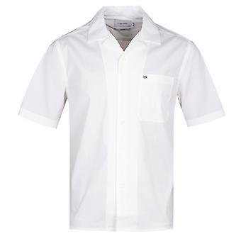 Calvin Klein Kuuban kaulus rento sovi valkoinen lyhythihainen paita