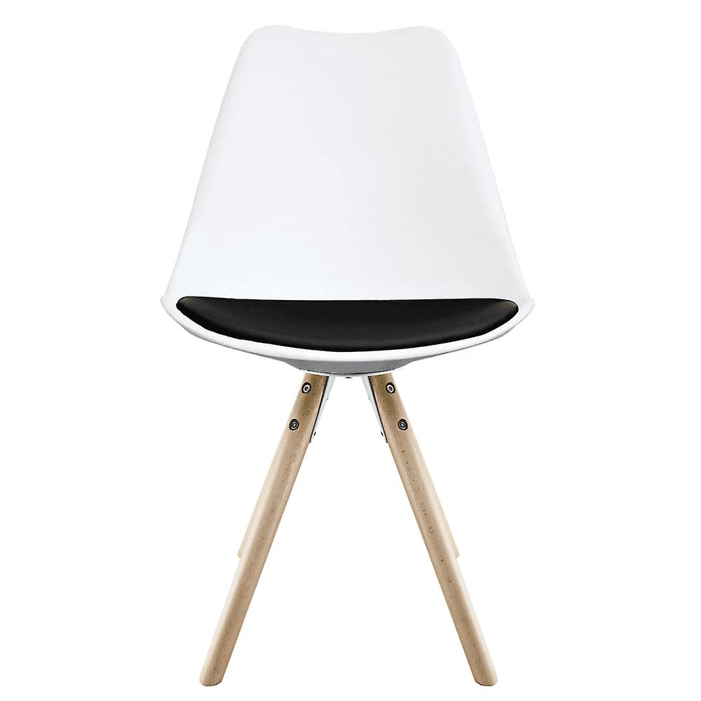 Fusion Living Eiffel Inspired White And Black Dining Chair With Pyramid Light Wood Legs