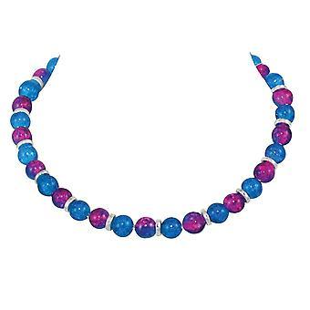 مجموعة الأبدية دومينيكا الأزرق والفوشيا الوردي كراكل الزجاج حبة الفضة لهجة قلادة