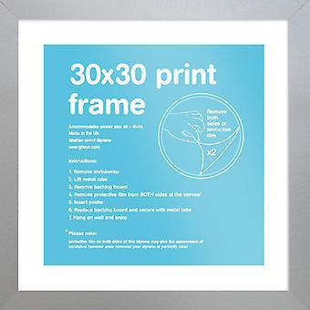 Eton zilver Frame 30 x 30cm Poster / Frame afdrukken