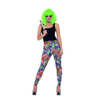 Kammottava klovni leggingsit, Halloween Cirque Sinister Fancy Dress, UK koko 12-14