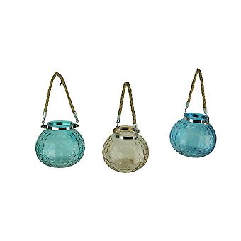 Glass Globe 5 inch Tealight Candle Lanterns with Rope Handles Set of 3