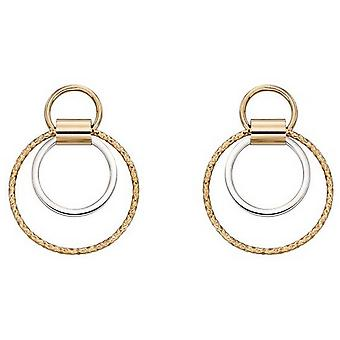 Elementen Gold Diamond Cut multi Cirkel oorbellen-goud/zilver