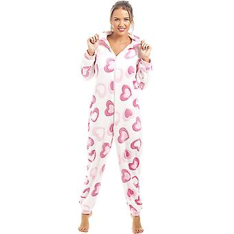 Camille Pink And White Heart Print Supersoft Fleece Hooded Onesie