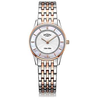 Rotary Womens Ultra Slim Two Tone Bracelet Mother of Pearl Dial LB08302/02 Watch