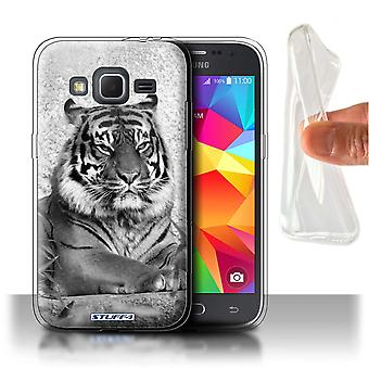 STUFF4 Gel TPU Case/Cover für Samsung Galaxy Core Prime/Tiger/Mono Zootiere