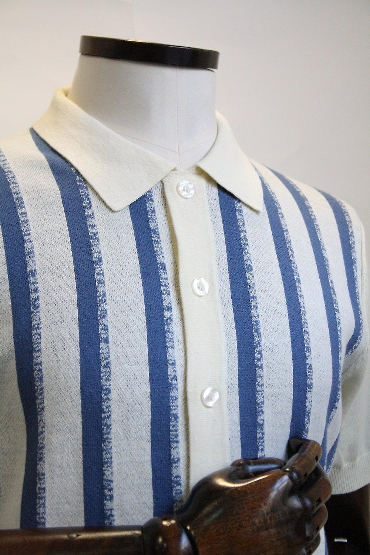Merc London Wilmot Cream Stripe Button Through Knit