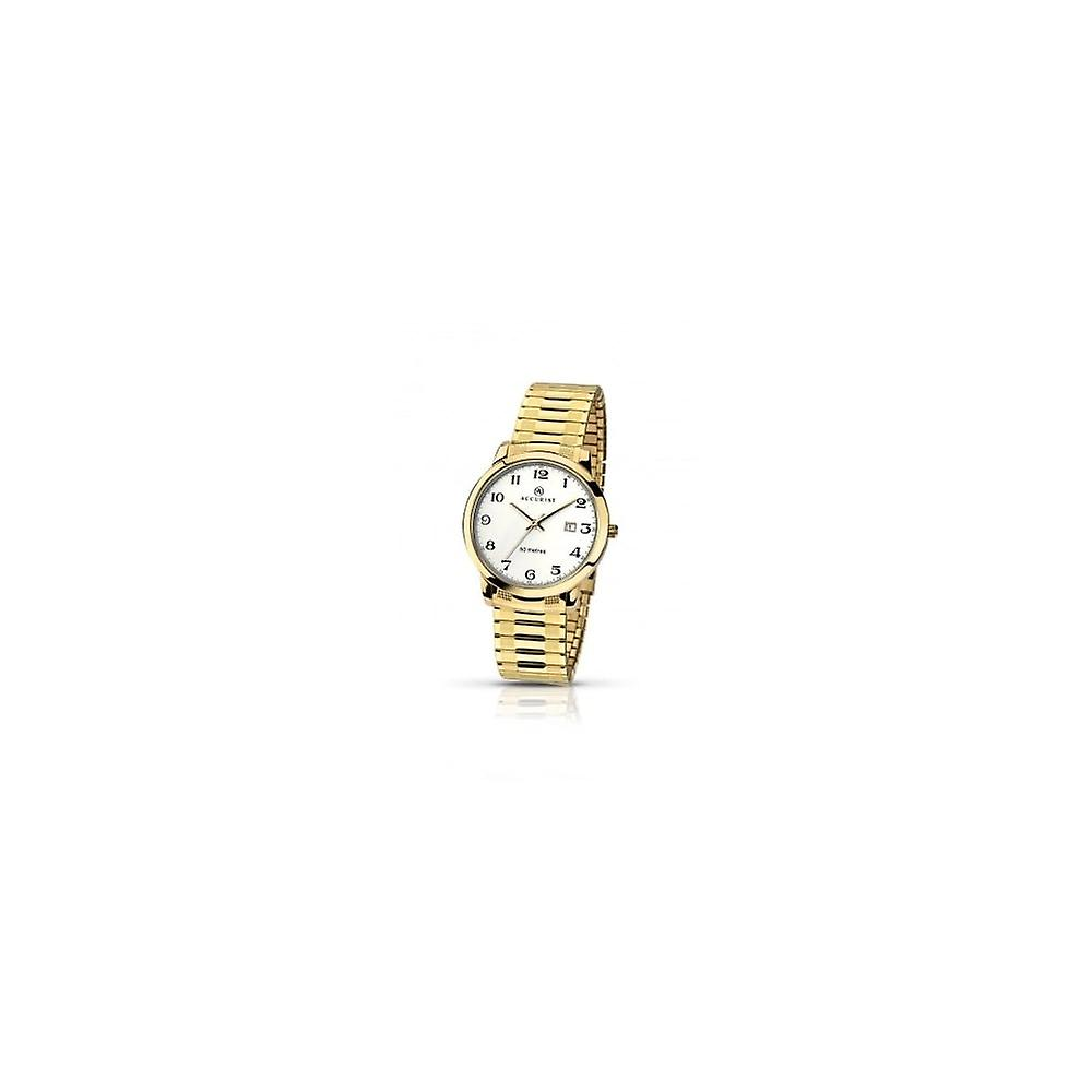Accurist Mens Round White Dial Gold Expanding Bracelet Watch