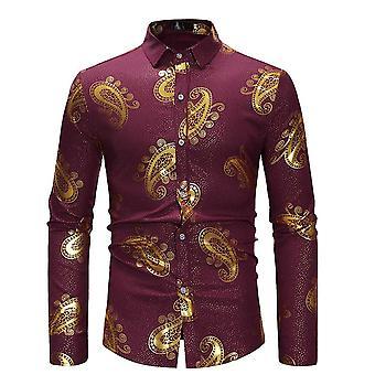 Allthemen Men's Slim Fit Bronzing Stampato Business Casual Maniche lunghe Camicia