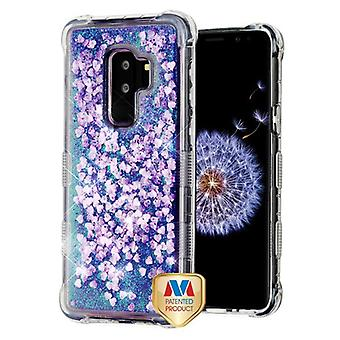 MYBAT Purple Hearts TUFF Quicksand Glitter Lite Hybrid Protector Cover  for Galaxy S9 Plus