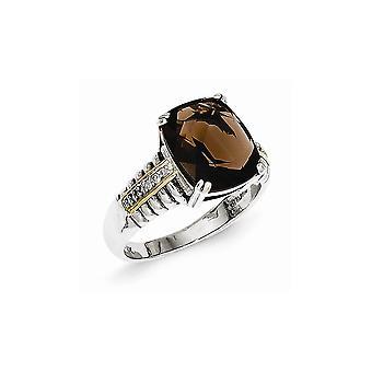 925 sterling silver polerad stift som öppen rygg antik finish 14K gul diamant Smokey kvarts Ring-Ring storlek: 6 till